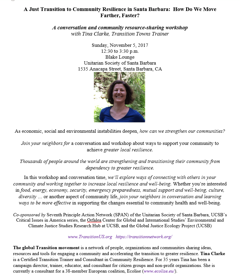 A conversation and community resource-sharing workshop  with Tina Clarke, Transition Towns Trainer